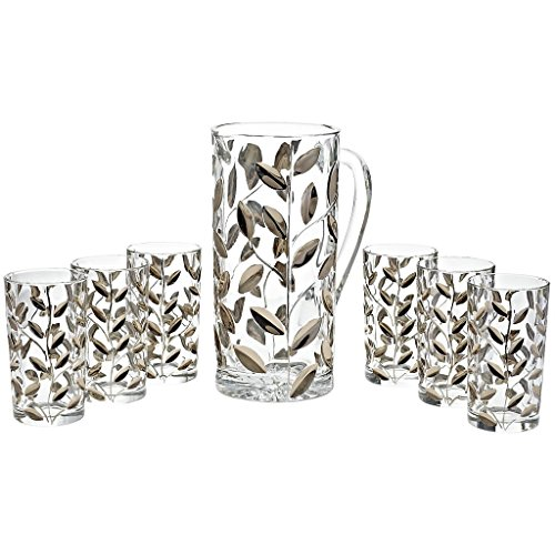 Watter Pitcher Set of 7 pcs. Edelrausch 1200ml/250ml, transparent/platin (GERMAN CRYSTAL powered by CRISTALICA) by GERMAN CRYSTAL