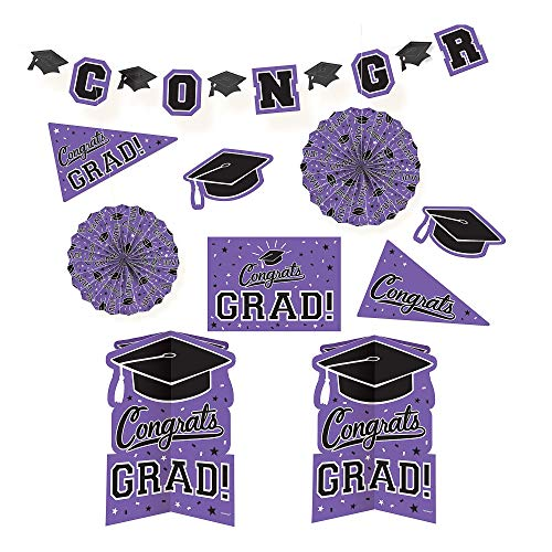 Amscan 241163.106 Grad Room Decorating Kit, Multi Sizes, Purple