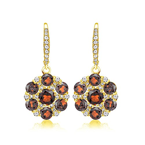 Yellow Gold Flashed Sterling Silver Garnet and White Topaz Flower Dangle Leverback -