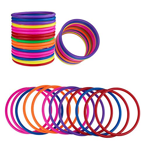 PRALB 18 PCS Plastic Toss Rings Multicolor Toss Rings Random Color Toss Rings for Speed and Agility Practice Games, Carnival, Garden, Backyard, Outdoor Games -