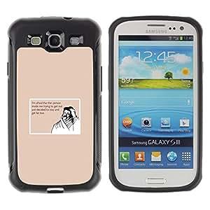 Suave TPU Caso Carcasa de Caucho Funda para Samsung Galaxy S3 I9300 / Thin Fat Lifestyle Quote Diet Funny Moustache / STRONG