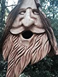 New Wood Spirit rustic Hand Carved Cedar Bird House Birdhouse Happy With Hair For Sale