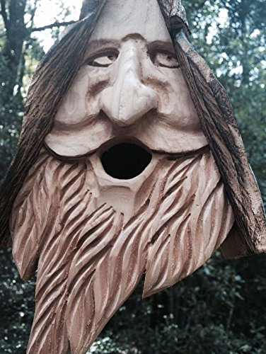 New Wood Spirit rustic Hand Carved Cedar Bird House Birdhouse Happy With (Choice Peanut Suet Logs)