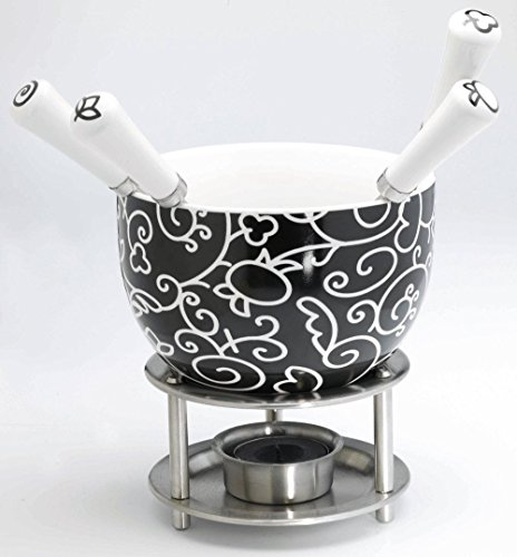 Mastrad Chocolate Fondue Set Black and White