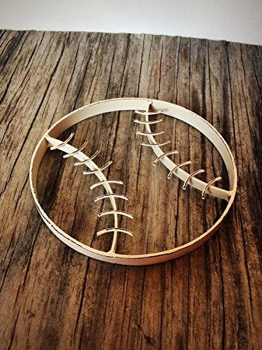 Antique Ivory White Rustic Metal Baseball Wall Art Hanging - Boy's Sports Fan Themed Bedroom Nursery - Playroom -