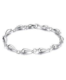 Amesii donne moda argento placcato Waterdrop Link catena bracciale gioielli regalo