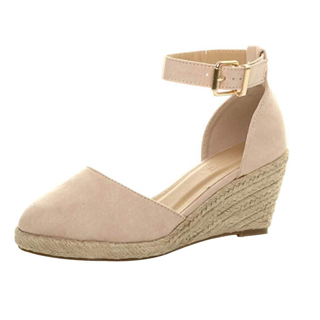 Buckle Wedges Sandals for Women - Summer Weaving Espadrille Heel Platform Closed Toe Ankle Strap Sandals (Beige, 5.5 M US)