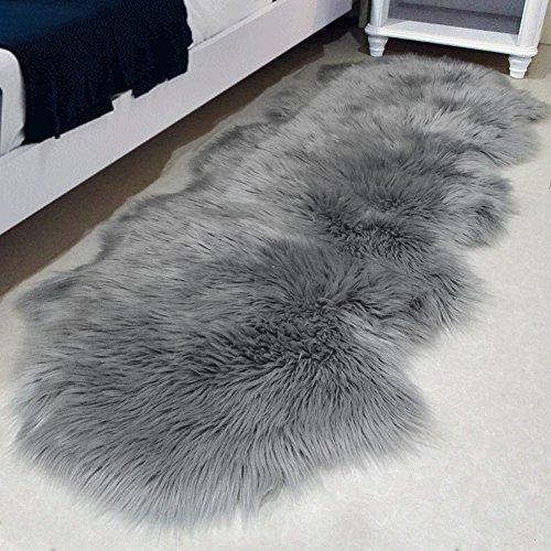 LOCHAS Stylish Ultra Soft Silky Fluffy Shag Faux Sheepskin Area Rug, Rugs for Living Room Bedroom Nursery Floor, 2.6′ x 5.2′, Gray