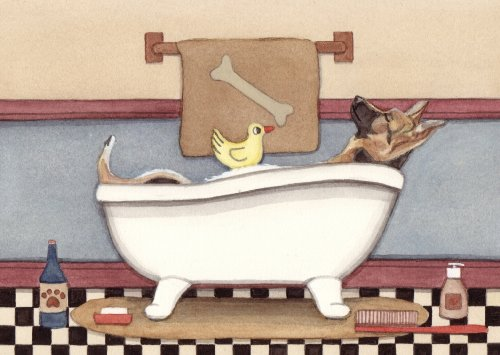 German shepherd fills tub at bath time / Lynch signed folk art print
