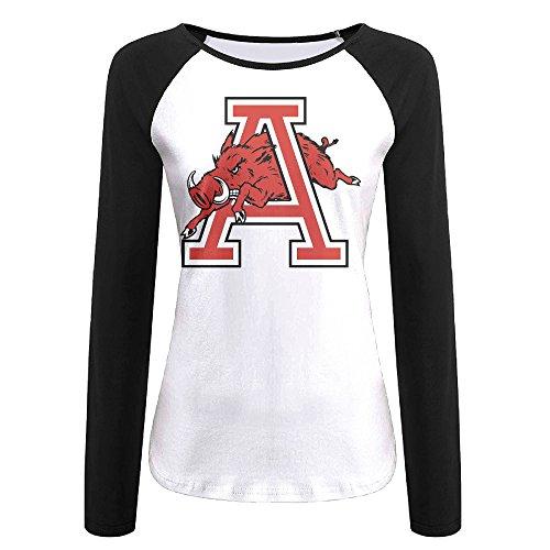 Creamfly Womens University Of Arkansas Long Sleeve Raglan Baseball Tshirt Xl
