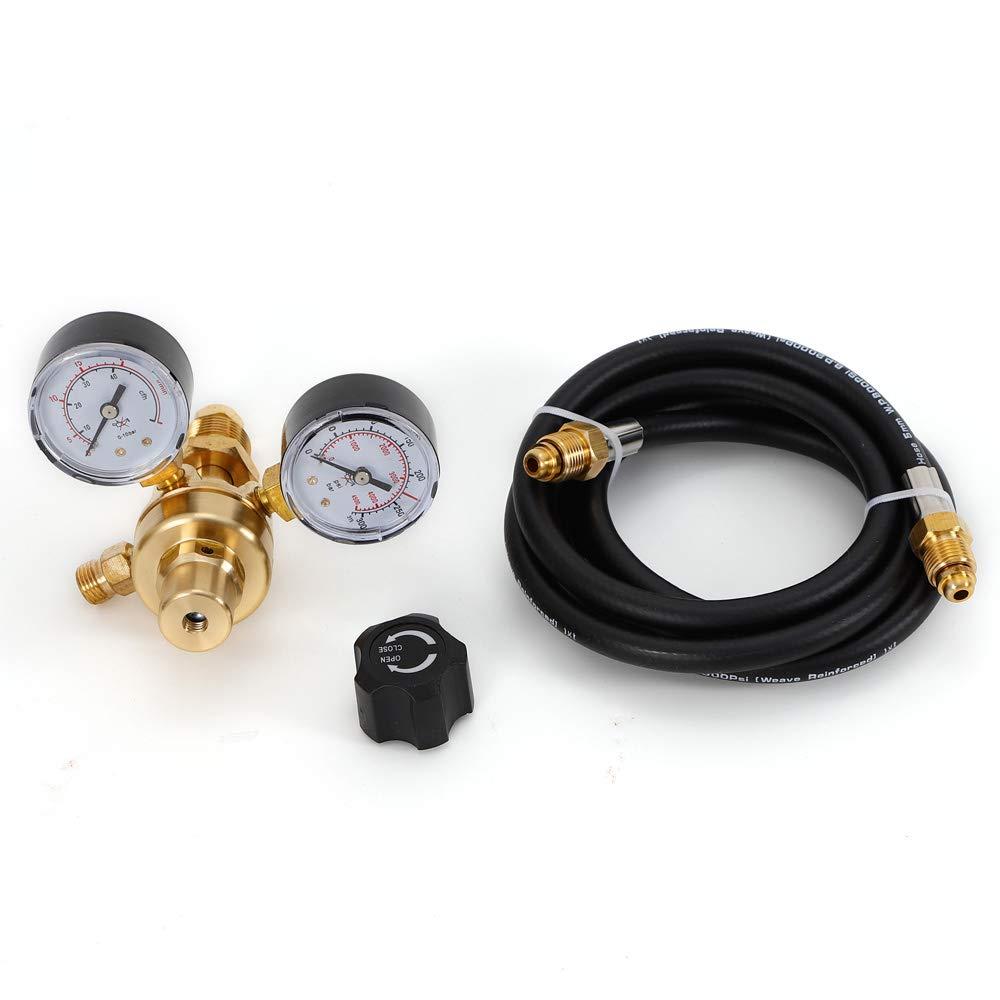 Mig Tig Welding Accessory CGA 580 Welding Welder Pressure Control Fitting CO2 Gauge Miller Mig Tig Argon CO2 Flow Meter Regulator w// 6 foot Inert Gas Hose w// 6 foot Hose Brass Pressure Regulator