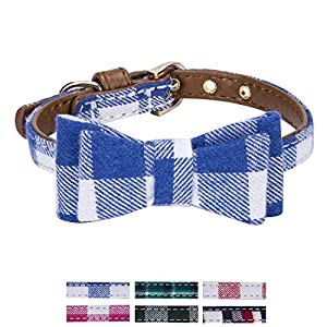StrawberryEC Extra Small Dog and Cat Collar with Cute Plaid Bowtie. Adjustable 5 Holes to Also Fit Puppy and Kitten. Quality PU Leather and Durable Polyester (Bowtie-Royal Blue Plaid)