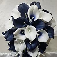 Navy Blue Ivory White Calla Lily Bridal Wedding Bouquet & Boutonniere