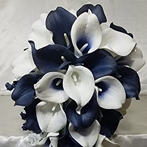 Navy Blue Ivory White Calla Lily Bridal Wedding Bouquet & Boutonniere 16