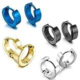 INBLUE Men's Stainless Steel Stud Hoop huggie Earrings Silver Tone Black Blue Gold Tone Plain ( 4 Pairs )