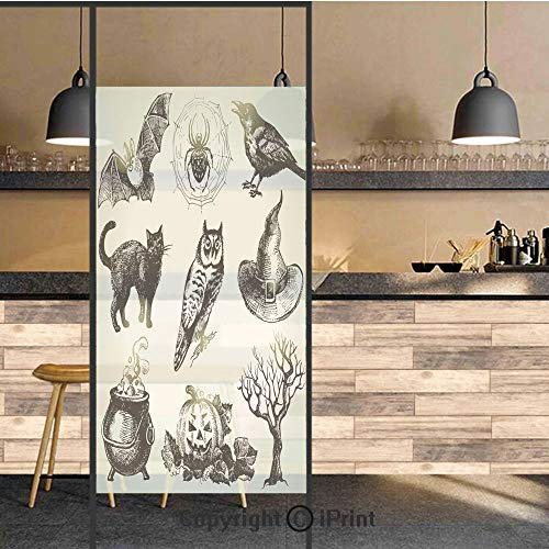 3D Decorative Privacy Window Films,Halloween Related Pictures Drawn by Hand Raven Owl Spider Black Cat Decorative,No-Glue Self Static Cling Glass Film for Home Bedroom Bathroom Kitchen Office 17.5x71
