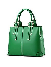 QUBABOBO Women Leather Top Handle Zipper Closure Handbags