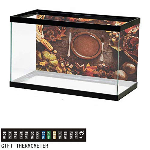 wwwhsl Aquarium Background,Harvest,Dinner at Thanksgiving Fall Color Theme Plate and Cutlery Various Seasonal Food,Brown Orange Fish Tank Backdrop 30
