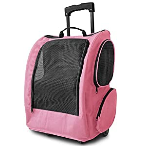 OxGord Dog Pet Carrier Rolling Backpack Cat Easy Walk Travel Tote Premium Quality Airline Approved -