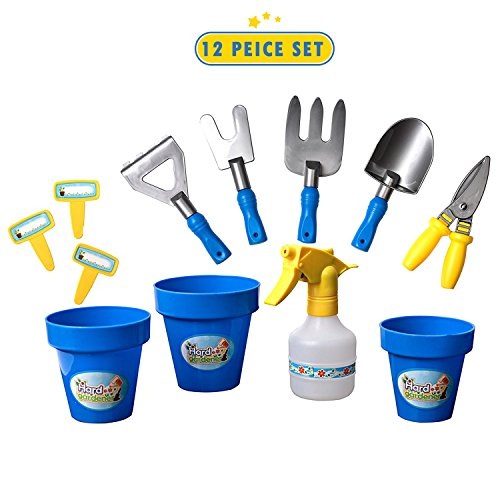 12 Piece Gardening Toys Tools Set For Kids And Toddlers- Planting Digging Garden Tools For Children- Pretend Play Gardening Sand Toys Rakes, Shovels