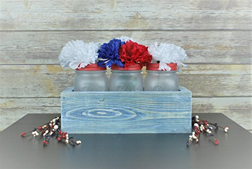 Americana Mason Jar Centerpiece, 4th of July decorative accent