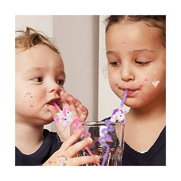 Reusable Unicorn Drinking Plastic Straws + Unicorn Temporary Tattoos for Girls | Unicorn Birthday Party Supplies… 9
