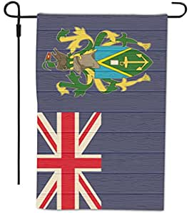 Rikki Knight Pitcairn Islands Flag on Distressed Wood Design Decorative House or Garden Full Bleed Flag, 12 by 18-Inch