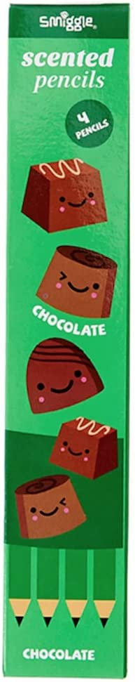 Choc Bloc Scratch /& Scent Smiggle Pencils x 4 Pack Scented HB Wooden With Eraser Top
