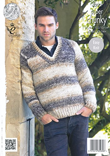 b66ba0d16 King Cole Mens Easy Knit Super Chunky Tints Knitting Pattern V Neck Sweater    Cardigan (
