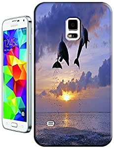 Couple Dolphins Jump out of the water under the Setting Sun cel phone cases for Samsung Galaxy S5