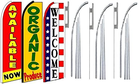available now organic produce Welcome King Swooper Feather Flag Sign Kit With Pole and Ground Spike Pack of 3