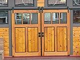 Hahaemall Interior Modern Rustic Black Double Sliding Barn Door Hardware 16FT J Shape Style Steel Roller Track Kit