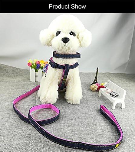 Newtensina Moda Perro arn/és Collar y Correa Set c/ómodo Tela de Mezclilla Perrito arn/és Collar con Correa para Perro S Pink