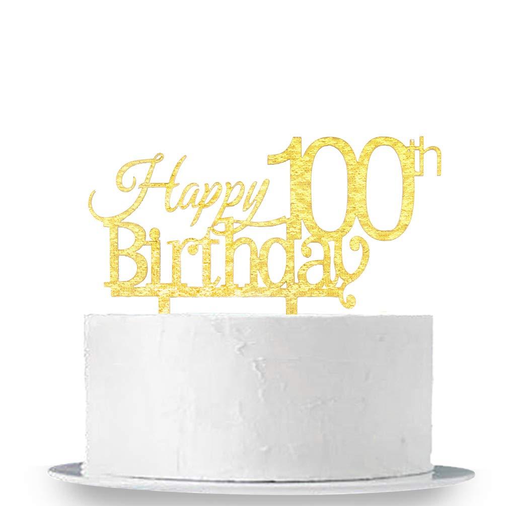 INNORU Happy 100th Birthday Cake Topper - Gold 100th Birthday Party Decoration Supplies