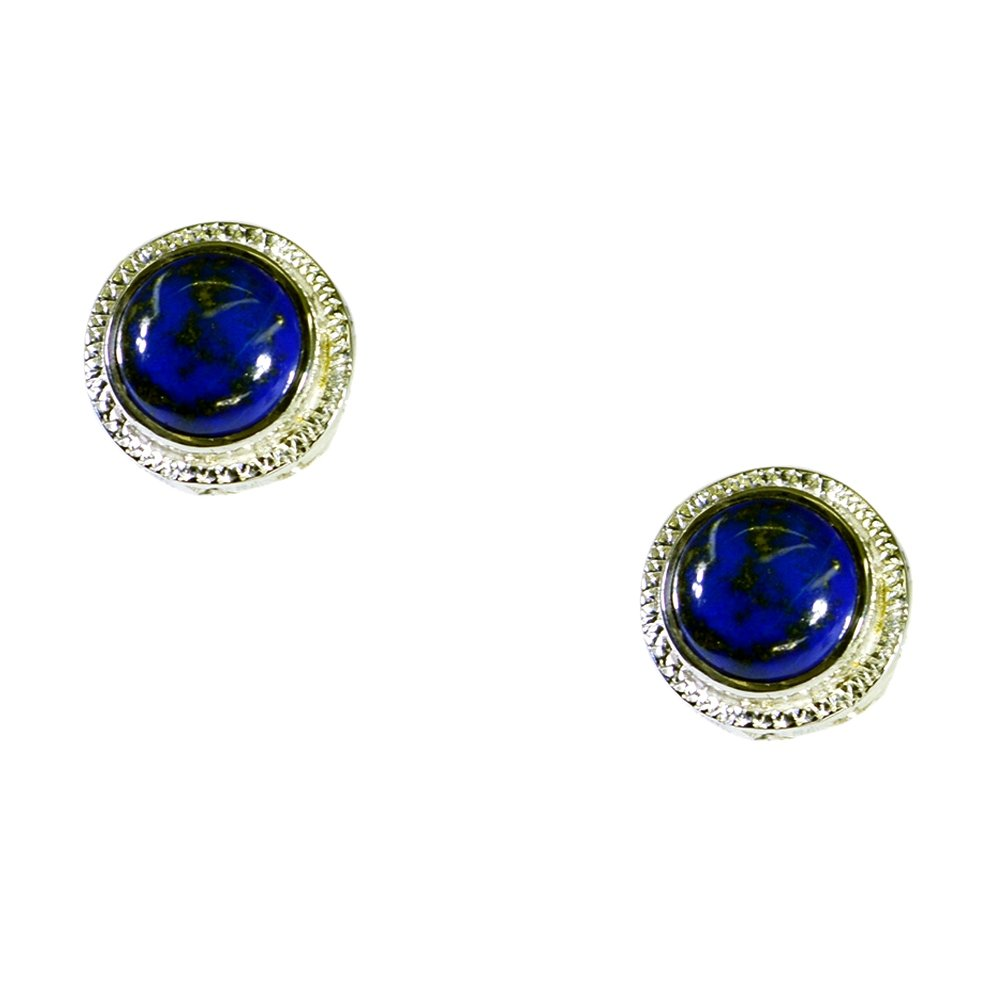 Gemsonclick Real Lapis Lazuli Earring For Women Sterling Silver Round Shape Style Jewelry Chakra Healing