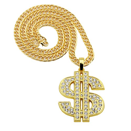 NYUK Gold Chain for Men with Dollar Sign Pendant Necklace - Import It All 7be7d2b765c
