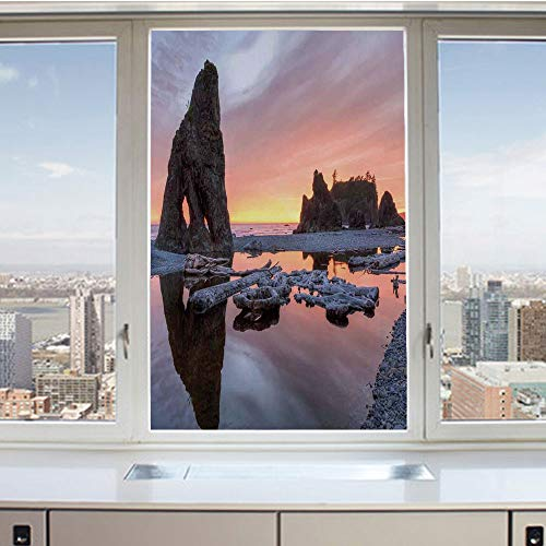 - 3D Decorative Privacy Window Films,Sunset Theme Sea Stacks and Driftwood at Ruby Beach Digital Image,No-Glue Self Static Cling Glass Film for Home Bedroom Bathroom Kitchen Office 17.5x36 Inch