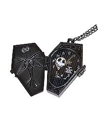 Vintage Retro Creative Halloween Grotesque Night Relief Skeleton Skull Necklace Sweater Chain Pocket Watch, Black