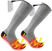 Werpow Heated Socks for Men/Women - Upgraded Rechargeable Electric Socks with 4800mAh Large Capacity Battery