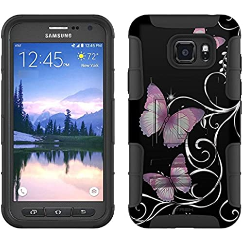 Samsung Galaxy S7 Active Armor Hybrid Case Purple Butterfly on Black 2 Piece Case with Holster for Samsung Galaxy Sales