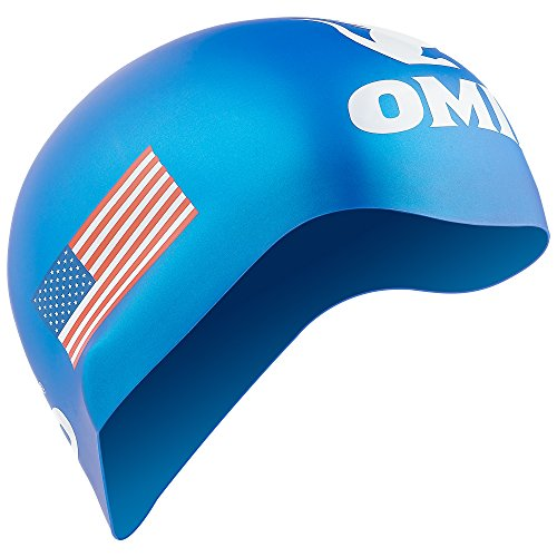 OMID Swim Cap with American Flag Printing, 100 % Silicone Comfortable and Durable for Adults and - Cap Swimming Usa