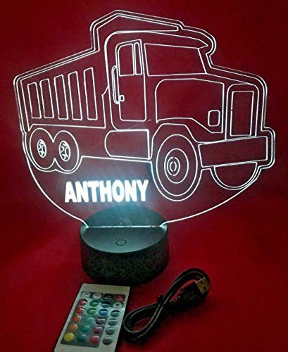 (Dump Truck Shape Design Engraved Beautiful Handmade Acrylic Personalized Paving Dump Truck Light Up Lamp LED, Light Up Light Lamp LED With Remote, Our Newest Feature - It's WOW, Comes With Remote)