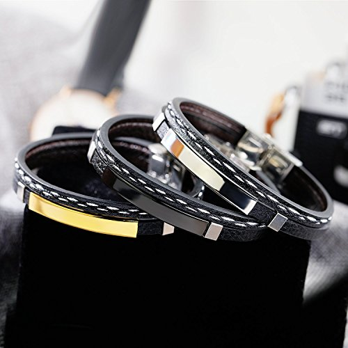 GAGAFEEL Leather Bracelet Braided Rope Cuff Custom Engraved Message Stainless Steel Bangle Unisex Gift (Engraving-Steel) by GAGAFEEL (Image #6)