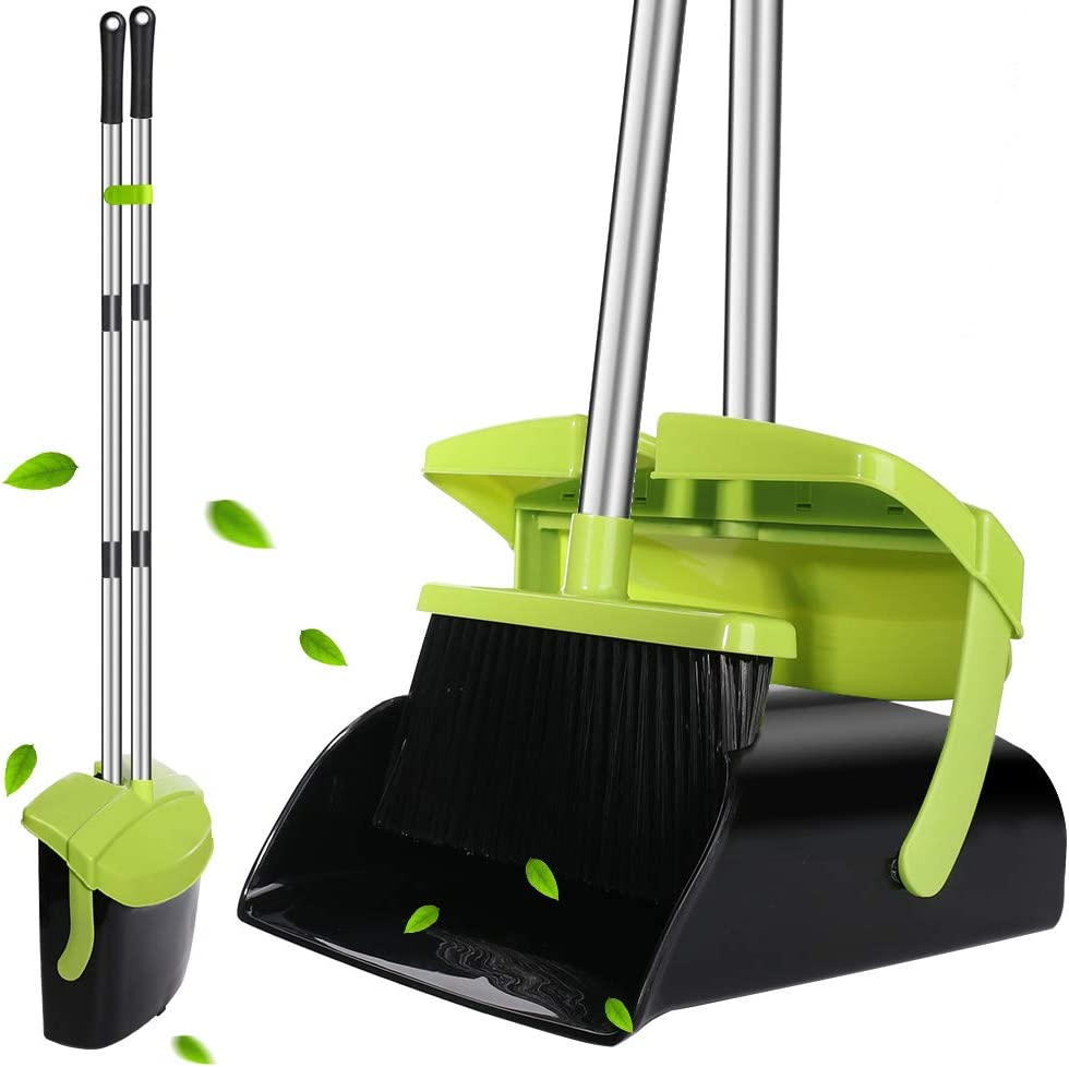 Broom and Dustpan Set, Super Long Handle Lobby Broom, Self-Cleaning with Dust Pan Teeth, Ideal for Home