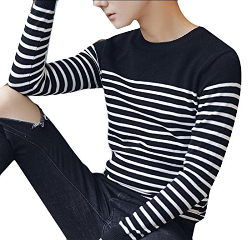 Long Pullover Winter Stripes Sweater M Print Gery Sleeve Men's amp;W amp;S RqYw1UT