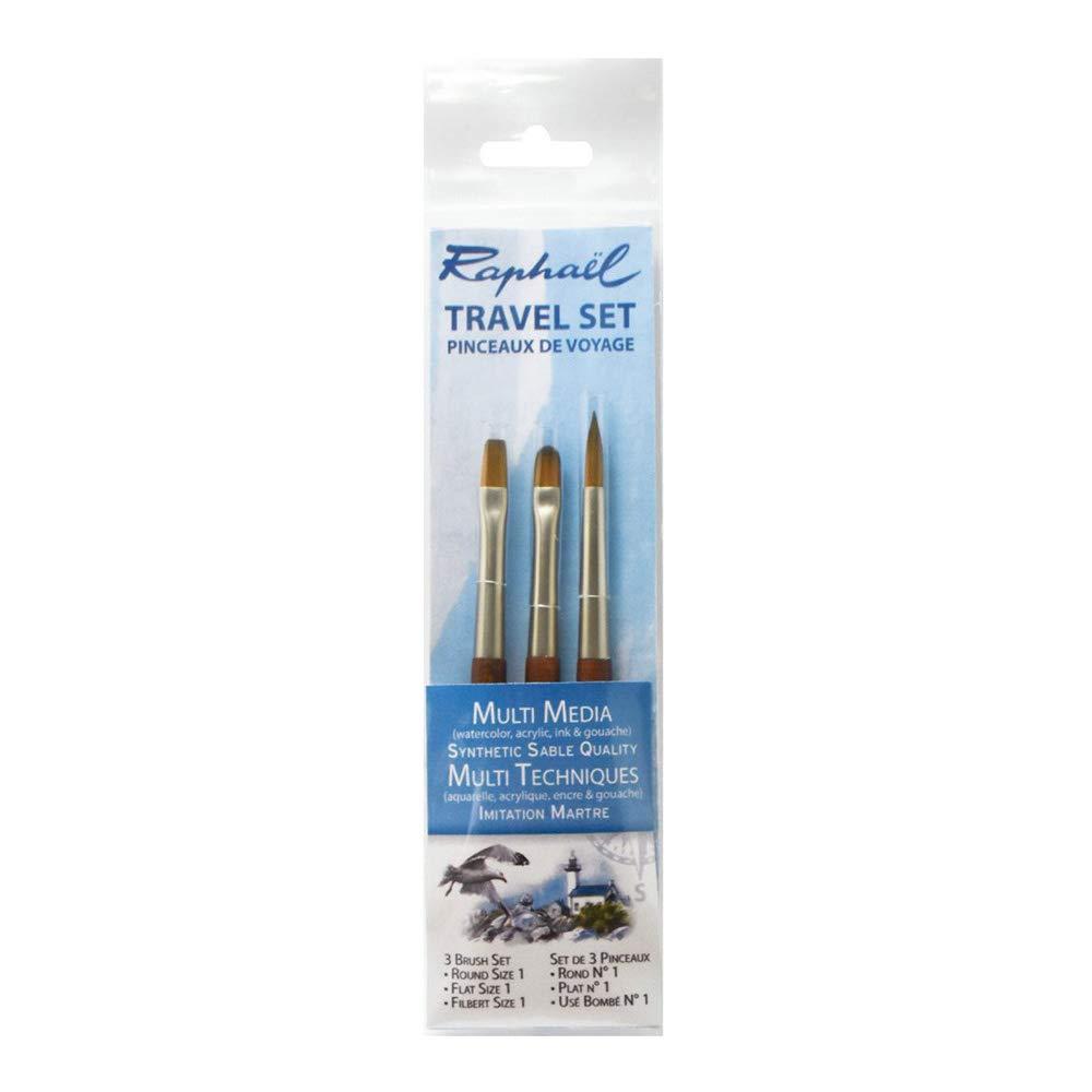 Raphael Travel Precision Mini Brush Set #10, Includes 3 Brushes, Round 01, Flat 01 & Filbert 01 (25-P10612-10) by Raphael