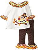 Bonnie Baby Baby-Girls Newborn Pilgrim Owl Appliqued Legging Set