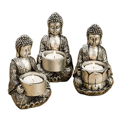 WHW Whole House Worlds Baby Buddha Tea Light Holders, Set of 3, Silver, Hand Rubbed Artisan Finish, Black Patina, Cast Poly Resin, 5 1/2 Inches Tall