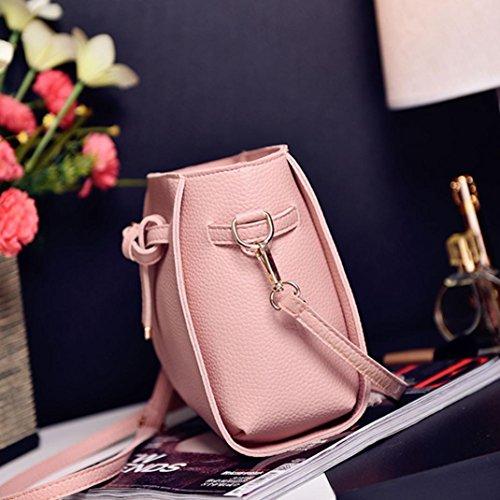 Handbag Women Bag Crossbody Womens Shoulder BESTOPPEN Leather Fashion Casual Four Pink Shoulder Clearance Ladies Black Bag Wallt Solid Girls Cross Body Set 2 Color ptEW8qfw