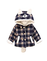 Little Hand Baby Boys Fleece Lined Zip Up Hooded Winter Coat Navy Plaid Jacket